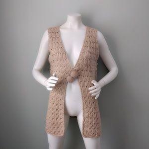 Vtg Beige Pom Pom Festival Crochet Sweater Vest ML
